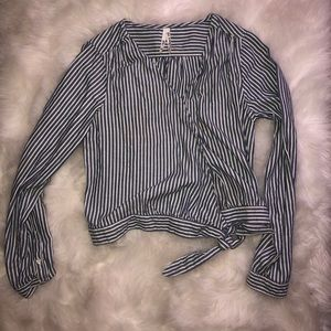 Striped long sleeve wrap around blouse